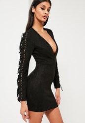 Missguided Black Faux Suede Plunge Neck Dress