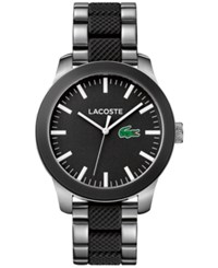 Lacoste Men's L.12.12 Stainless Steel And Black Silicone Bracelet Watch 43Mm 2010890