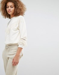 J.O.A Oversized Crew Neck Sweatshirt With Tassel Trim Cream