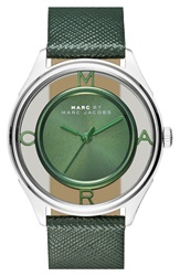Marc By Marc Jacobs 'Tether' Skeleton Leather Strap Watch 36Mm Spanish Moss Green Silver