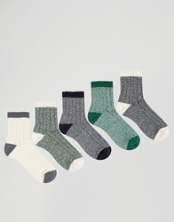 Asos Ankle Length Boot Socks 5 Pack Grey Green Blue Multi