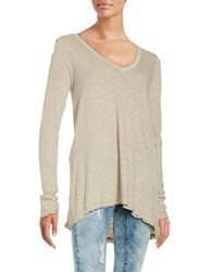 Free People Distressed Shark Bite Long Sleeve Jersey Tee Brown