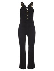Frame Denim Le High Cropped Dungarees Black