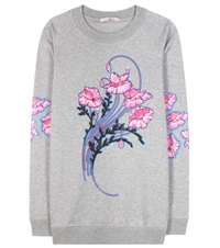 Christopher Kane Bouquet Printed Cotton Sweatshirt Grey
