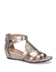 Sofft Breeze Metallic Leather Wedge Sandals Grey