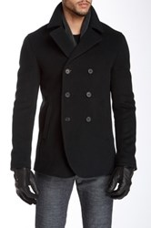 John Varvatos Double Breasted Wool Blend Peacoat Black