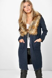 Boohoo Faux Fur Shawl Collar Chuck On Coat Navy