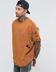 Asos Oversized T Shirt With Rips And Slash Distress In Tan Trinket
