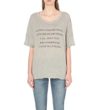 Wildfox Couture Day Off Cotton Blend T Shirt Heather Vanilla Latte