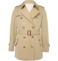 Alexander Mcqueen Slim Fit Cotton Gabardine Trench Coat Neutrals