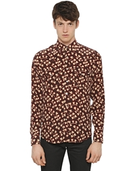 Saint Laurent Silk Crepe De Chine Western Style Shirt Brown