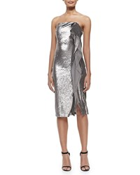 Halston Strapless Sequined Cascading Ruffle Dress Taupe Silver