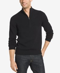 Izod Men's Dual Texture Quarter Zip Sweater Black