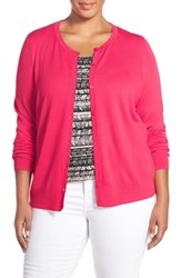 Plus Size Women's Sejour Crewneck Cardigan Red Barberry