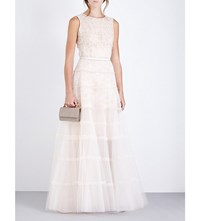 Oscar De La Renta Beaded Lace And Tulle Gown Bisq W Gold