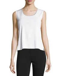 Ming Wang Embellished Scoop Neck Knit Tank Wht