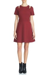 1.State Women's Shoulder Cutout Fit And Flare Dress Wine