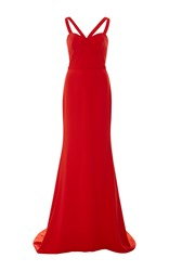 Elizabeth Kennedy Strappy Fitted Gown Red