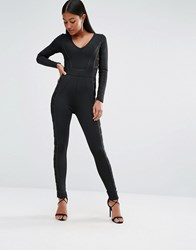 Wow Couture Bandage Jumpsuit With Mesh Panels Black