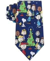 Peanuts Christmas Party Tie Navy