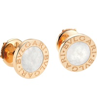 Bulgari Bvlgari Bvlgari Small 18Ct Pink Gold Stud Earrings With Mother Of Pearl