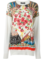 Dolce And Gabbana Floral Fans Print Sweatshirt White