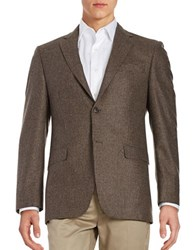 Lauren Silver Wool Houndstooth Blazer Light Brown