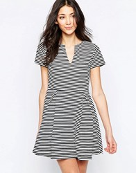 Wal G Skater Dress With Open Neck In Stripe Blackwhite