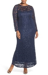 Marina Plus Size Women's Illusion Yoke And Long Sleeve Lace Gown Navy