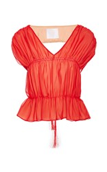Azede Jean Pierre Open Back Ruched Top Red