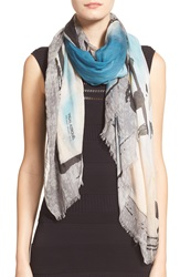 Yigal Azrouel Yigal Azrouel 'Free Fly' Print Scarf Light Blue Grey
