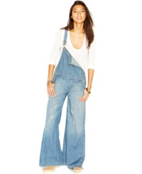 Free People D Ring Back Washed Chambray Wide Leg Overalls