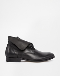 H By Hudson Hillman Leather Flat Lace Up Ankle Boots Black