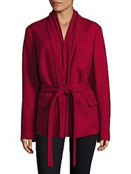 Escada Wool Cashmere Blend Draped Jacket Red
