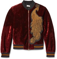 Dries Van Noten Reversible Appliqued Velvet And Quilted Satin Bomber Jacket Burgundy