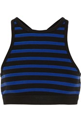 Alexander Wang Striped Stretch Cotton Bra Top Blue
