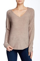 Sweet Romeo Seed Stitch V Neck Sweater Brown