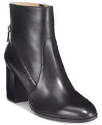 Adrienne Vittadini Bob Side Zipper Ankle Booties Women's Shoes Black Leather