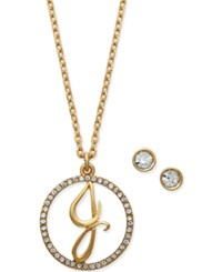 Charter Club Gold Tone Crystal Initial Pendant Necklace And Stud Earring Set Only At Macy's J