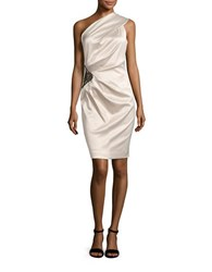 Eliza J One Shoulder Ruched Cocktail Sheath Dress Champagne