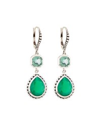Stephen Dweck Green Quartz And Agate Dangle Earrings