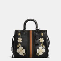 Coach Western Embroidery Rogue Bag In Pebble Leather Black Copper Black