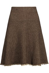 Etro Frayed Herringbone Wool Blend Mini Skirt Dark Brown
