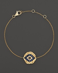 Bloomingdale's Diamond And Sapphire Evil Eye Bracelet In 14K Yellow Gold Multi