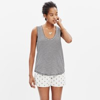 Madewell Anthem Scoop Tank Top In Stripe Almost Black