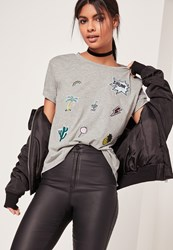 Missguided Patch T Shirt Grey