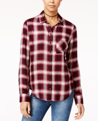 Polly And Esther Juniors' Herringbone Plaid Shirt Red Black