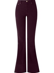 Amapa Velvet Flared Trousers Pink And Purple