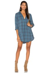 Cp Shades Teton Plaid Button Up Dress Blue
