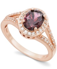 B. Brilliant 18K Rose Gold Over Sterling Silver Pink And White Cubic Zirconia Oval Ring 1 5 8 Ct. T.W.